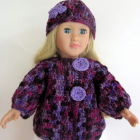 Doll Outfit hat and jacket, 18in doll clothes, cardigan and beanie, hand crochet