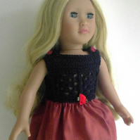 18in doll dress, party dress for big doll, navy cotton and rose silk