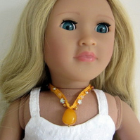 Doll necklace for 18in dolls, yellow and gold beaded jewellery, hand crochet