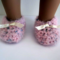 Doll Shoes to fit 18 inch dolls, fluffy pink slippers hand crochet