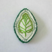 Green leaf textile brooch hand embroidered fabric jewellery
