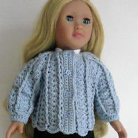 18in doll jacket, Baby Blue cardigan, hand crochet doll clothes,