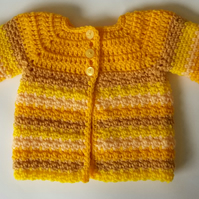 Baby Cardigan for boy or girl Daffodil Yellow hand crochet for new baby