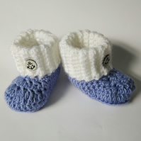 Baby Booties blue and white hand crocheted gift for new baby