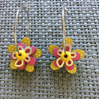 """Lemon Polka"" flower earrings"