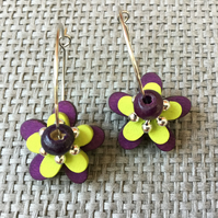 """Blackberry and Lime"" flower earrings"