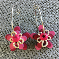 """English Rose"" flower earrings"