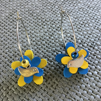 """Bluebird"" flower earrings"