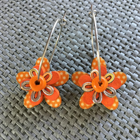 """Tangerine Dream"" flower earrings"