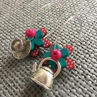 """Time for Tea Pink"" flower earrings"