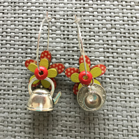 """Time for Tea Red"" flower earrings"