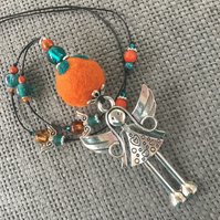 """Tangerine Teal Angel""  pendant necklace"