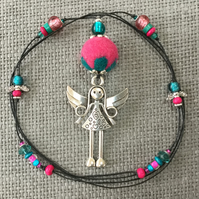 """Fuchsia Angel""  pendant necklace"