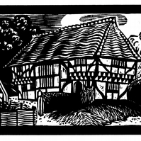 Bayleaf Farmstead - woodcut print