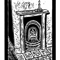 Victorian Fireplace - woodcut print