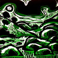 Downland Valley - woodcut print