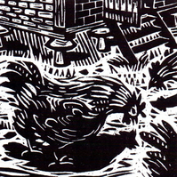 Chicken Yard - woodcut print