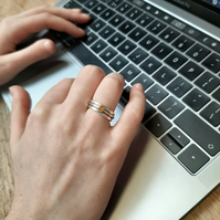 Silver stacking rings with a orange Citrine ring