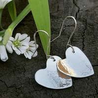 Silver hammered heart earrings - available in three sizes