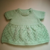 Hand Knitted Mint Green Baby Dress