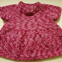 Hand Knitted Pink Baby Dress