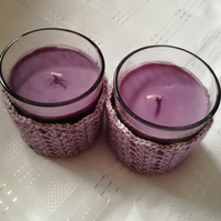 Pair of hand crochet candle covers (candles included)