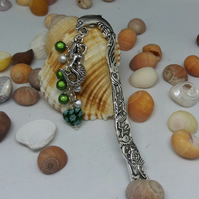 Dolphin bookmark with green miracle beads and mermaid