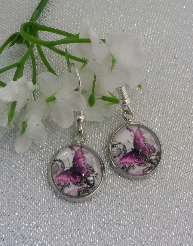 Purple butterfly dangle drop earrings