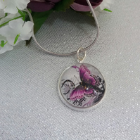 Purple butterfly pendant and snake chain