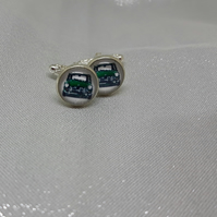 CL18 Green mini picture cuff links
