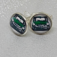 CL21 Green Mini picture cuff links