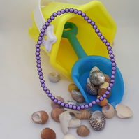 AL35 - purple miracle bead anklet