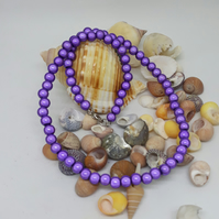 NL27 - Purple miracle bead necklace 16""