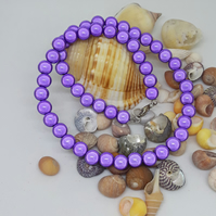 NL29 Purple miracle bead necklace 16""