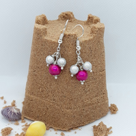 ER20 Pink and silver miracle bead drops