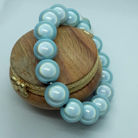 BR362 Pale blue miracle bead bracelet