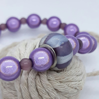 BR365 Purple Miracle bead bracelet with Glass bead