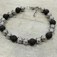 MBR06 Man's silver and black lava bead bracelet