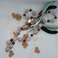 NL34 Pink ceramic hearts and freshwater pearl necklace