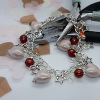 BR387 Ceramic heart and fresh water pearl charm style bracelet