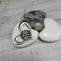 TP04 Cornish Tartan heart necklace
