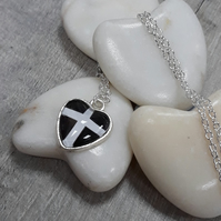 SPP03 St Piran's Cornish flag heart necklace