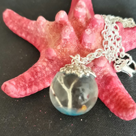 R7. Seaside theme resin globe necklace