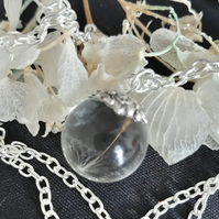 R13. Resin globe necklace with real dandelion seed