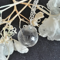 R15 Resin globe necklace with dandelion seed