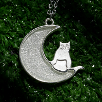 R37 Silver sparkles moon and cat resin necklace