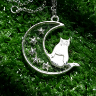 R38 Moon and cat necklace with stars