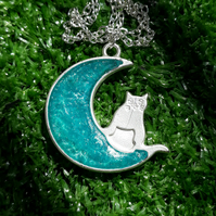 R40 Moon and cat necklace with blue resin