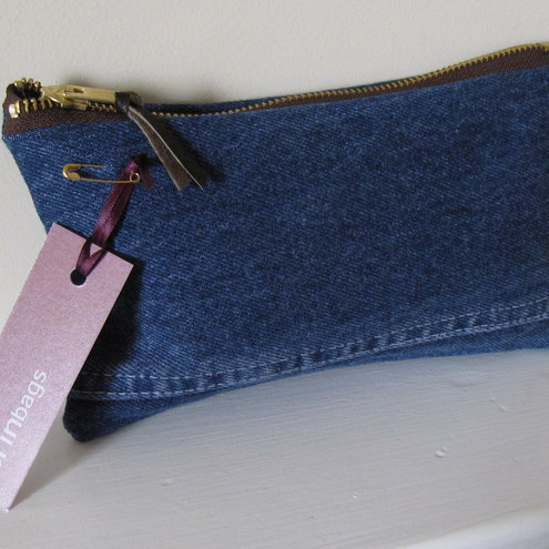 Upcycled Jeans Pencil Case Make Up Bag Folksy