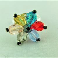 Yellow Blue Red Pale Blue Smoky Quartz and Pink Crystal Ladies Adjustable Ring